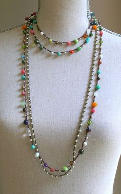 Colorful crochet necklace Boho jewelry long boho by 3DivasStudio
