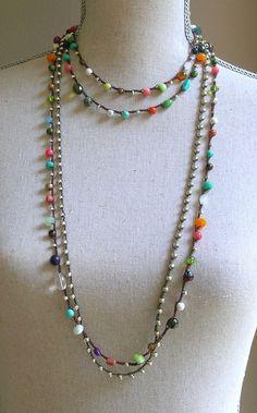 Collier crochet coloré hippie chic bohème bijoux par 3DivasStudio