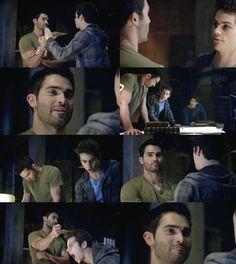 Teen Wolf~ Season 3-  Derek Hale (Tyler Hoechlin) and Stiles Stilinski (Dylan O'Brien). Luh Derek's smirk
