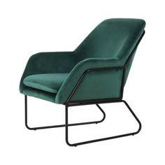 Fauteuil design velours vert