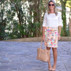 Look de trabalho - saia lápis - saia estampada - pencil skirt look de verão - work outfit - look executiva - moda corporativa