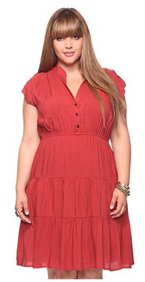 From Forever 21+, $22.80, Tiered Daytime Dress, Rust