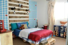 boy's bedroom: a NellieBellie exclusive  #boysbedroom #kidsroom #focalwall #blueandwhiteroom