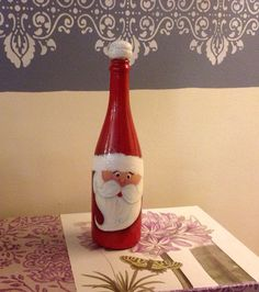 Christmas Hand Painted Santa's Wine Bottle by RosBelTreasures, $20.00