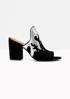 & Other Stories image 1 of Metallic Flames Suede Mules  in Black