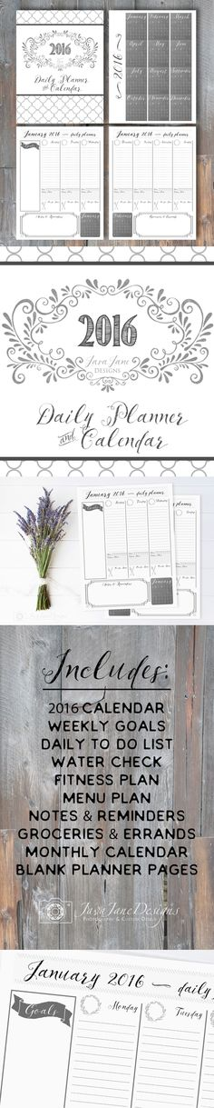 Printable 2016 Daily/Weekly Planner - PDF Instant Download | I really wanted a romantic feel when I designed this year's planner. Since I write and doodle with a lot of color, I created a simple black and white palette with just a few vintage touches. | Days of the week are beautifully hand lettered while the dates are left blank so that you can fill them in as you need (or even reprint pages if you want to start the week all over again :).