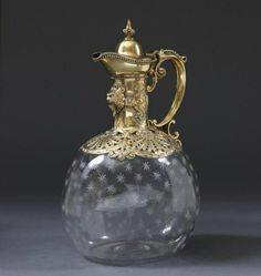 Victorian silver gilt and etched glass claret jug by Robert Garrard , London, England 1883