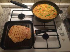Caribbean chicken curry and chilli Roti http://www.bbc.co.uk/food/recipes/prawn_sweet_potato_mango_34152