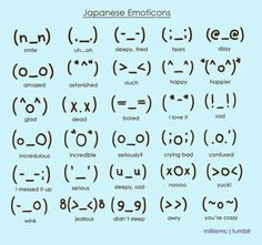 Japanese emoticons on http://japaneseemoticons.net/happy-emoticons/ this is a cool website! σ(≧ε≦o) ☆*・゜゚・*(^O^)/*・゜゚・*☆