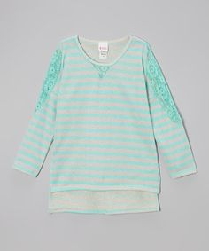 Take a look at this Mint Stripe Lace Hi-Low Top by Forever Princess on #zulily today! $15 !!