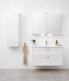 Miller bathroom 100 cm white London vanity with LED bathroom cabinet and mirror cabinet.