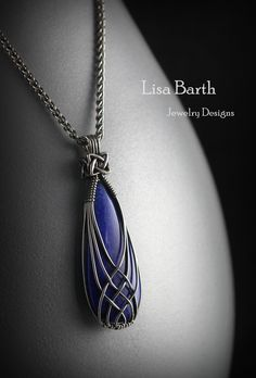 An elegant wrap for an elegant stone. Lapiz with a criss cross wrap. Lisa Barth