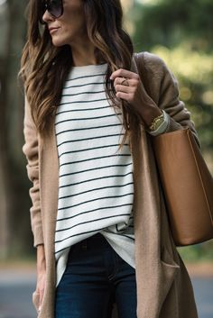 Striped cashmere sweater with tan cardigan.