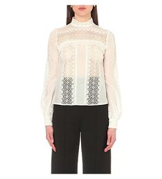 SELF-PORTRAIT Balloon-Sleeve Lace Panel Top. #self-portrait #cloth #tops