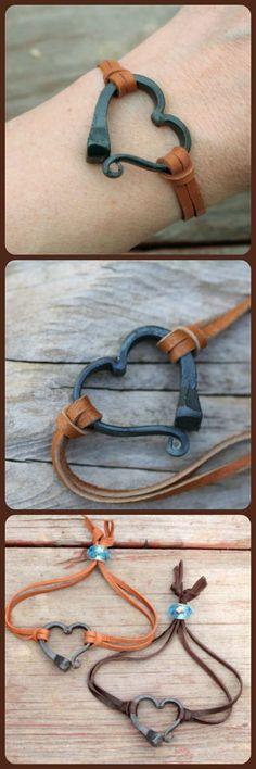 Horseshoe nail bracelet, Hand forged heart bracelet, Hand forged iron, Horse Lover Gift, Horse Shoe Nail, Horse Jewelry, Horse Shoe Bracelet #valentines #heart #gift #ad