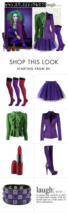 """joker costume"" by divacrafts ❤ liked on Polyvore featuring Pamela Mann, Chicwish, Labour of Love, Just Cavalli, MAC Cosmetics, WALL and Original"