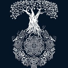 Yggdrasil Tree of Life by Design-By-Humans. on Yggdrasil Tree of Life by Design-By-Hu Yggdrasil Tattoo, Norse Tattoo, Celtic Tattoos, Viking Tattoos, Celtic Symbols, Celtic Art, Wallpaper Vikings, Vegvisir, Celtic Tree Of Life