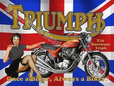 Triple Motorcycle, Motorbike British Flag Pin up Girl, Medium Metal Tin Sign British Motorcycles, Triumph Motorcycles, Vintage Motorcycles, Triumph Motorbikes, Bsa Motorcycle, Motorcycle Posters, Motorcross Bike, Motorcycle Birthday, Pin Up