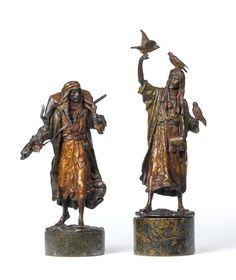 Pair of austrian cold painted bronze figures, by Franz Bergman. GBP5000.00