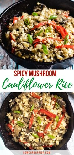 Mushroom cauliflower rice with peppers is a quick and easy cauliflower rice dish bursting with intense flavor and ready in just 20 minutes! Low Carb Side Dishes, Side Dish Recipes, Lunch Recipes, Great Recipes, Keto Recipes, Dinner Recipes, Cooking Recipes, Vegetarian Recipes, Healthy Recipes
