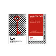 Real estate Business Cards B&W KEY card Modern Realtor Keller Williams, color both sides FREE UPS shipping- century 21 re-max by Ladyluckpr on Etsy