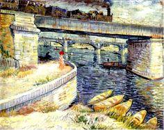 Bridges across the Seine at Asnieres Artist: Vincent van Gogh Completion Date: 1887 Place of Creation: Paris, France Style: Post-Impressionism Genre: cityscape Technique: oil