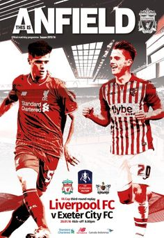 Liverpool 3 Exeter City 0 in Jan 2016 at Anfield. Programme cover for the League Cup Round Replay. Exeter City Fc, Anfield Liverpool, This Is Anfield, Leeds United, Football Program, Fa Cup, One Team, Replay, Big Picture