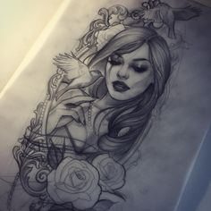 Sketch for next week. Hope my client likes it :) - Tattoo Designs - Tatowierung Chicano Tattoos, Body Art Tattoos, Girl Tattoos, Tattoos For Women, Tatoos, Tattoo Sketches, Tattoo Drawings, Tatouage Xo, Tattoo Designs