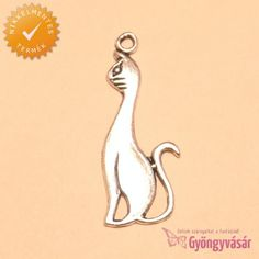 Ezüstszínű egyiptomi cica - nikkelmentes fém medál • Gyöngyvásár.hu