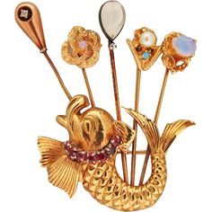 Vintage 1950 Fish Pin From 5 Older Stick Pins 14k Gold Opal Pearl Ruby from petersuchyjewelers on Ruby Lane