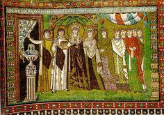 Teodora y su cortejo.Esposa del emperador Justiniano (Imperio Bizantino) Año 500 d.C. Estilo del siglo VI que se parece al estilo romano y griego. Se diferencia que se usa lo mismo para hombre y para mujer. Tipo de tejidos: terciopelo, Brocados, Damascos, sedas