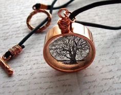 Copper tree necklace, tree of life necklace, twisted oak, resin and copper necklace, keyhole series