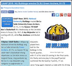 http://pilipinasbasketball.com/news/uaap-2015-nu-bulldogs-wrecks-dlsu-green-archers-81-73/  UAAP 2015: NU Bulldogs wrecks DLSU Green Archers, 81-73 #pilipinasbasketball #UAAP2015  UAAP 2015 News: National University Bulldogs mauled De La Salle University Green Archers, 81-73, in the Season 78 UAAP Men's Basketball this Wednesday at the SM MOA Arena in Pasay City. NU's J-Jay Alejandro led in scoring with 25, while Pao Javelona contributed 14.