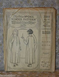 The New McCall School Pattern 2380 Girl's Nightgown Size 10 1920s | eBay