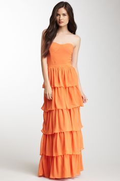 Strapless Tiered Maxi Dress