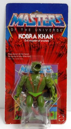 """Kobra Khan, evil master of snakes, squirts water when you pressed his head down. From Mattel's """"Masters of the Universe"""" toys"""