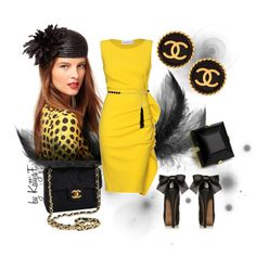 """Black & yellow and vintage Chanel earrings"" by kattjaf on Polyvore"