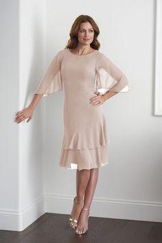 87ce06fce8e M200052 Knee Length Scoop Neckline Jade Chiffon MOB Dress