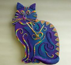 """Sittin' Kitten Cat Clock or Wall Art Sculpture, by MysticDreamerArt, $95.00 CUSTOM ONLY. For every cat lover -- here's something you don't have yet! Choose your colors!  My 3D modernist-style clocks came into being when I dreamed the design & now I'm branching out into animal shapes. I want each to be a great conversation piece as well as a time piece! I use different textures & surface treatments to create visual & tactile interest in 3D. Approx 11 X 11 X 1""""."""