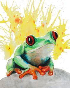 Tree frog watercolor painting frog print by EbbAndFlowWatercolor