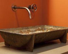 Orange Paint   Wall Color   Rusty Sink   Rustic Bath   Industrial Design   Bathroom