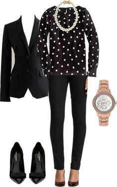 black pants, white/black polka-dot blouse, black blazer, black flats, and pink watch w pearl necklace
