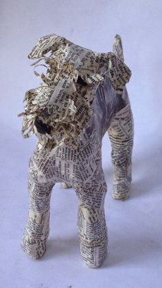 Artist identifies as Schnauzer, but could easily be an Airedale or a wire fox terrier. Paper Mache Projects, Paper Mache Clay, Paper Mache Sculpture, Paper Mache Crafts, Dog Sculpture, Paper Clay, Animal Sculptures, Paper Art, Art Crafts