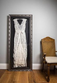 "The Beautiful Frame Company are made up of Sam and Charlotte, a mother and daughter duo with a bright idea of framing wedding dresses. When Charlotte's own wedding day had passed, she had no idea what to do with her bridal gown. ""I wanted to have my dre Wedding Dress Frame, Wedding Dress Display, Wedding Frames, Wedding Dress Shadow Box, Wedding Dress Storage, Post Wedding, Dream Wedding, Wedding Day, Wedding Keepsakes"