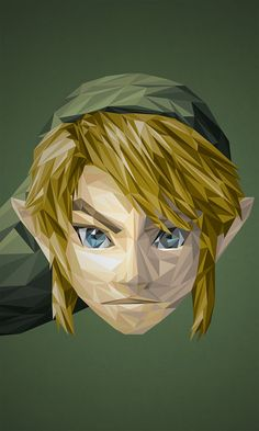 Illustrations Of Superheroes & Video Game Characters Made Of Triangular Shapes - Illustration Link Zelda