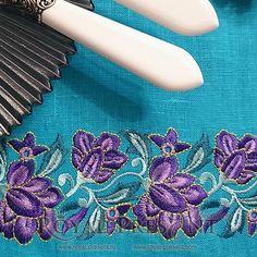 Machine Embroidery Design Purple floral border