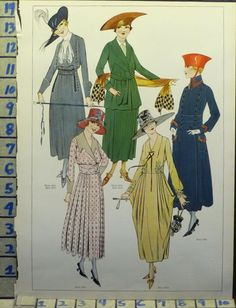 1917 FLAPPER WOMAN DRESS FROCK BLOUSE HAT FASHION STYLE VINTAGE ART AD ## AF21