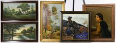 Lot 535: American School (20th Century) Pastels on Board; Pair of landscape pastels; c.1920, illegibly signed lower left and right, depicting summer landscapes; painted grain frames; together with an oil painting assortment including three paintings depicting a landscape, soldiers signed Kolberg and a portrait; two illegibly signed
