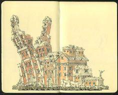 Sketchbook pages from swedish illustrator Mattias Adolfsson. Notebook Art, Sketchbook Pages, Fashion Sketchbook, Flower Doodles, Doodle Flowers, Ribbon Bookmarks, Nature Journal, Watercolor Sketch, Doodle Drawings