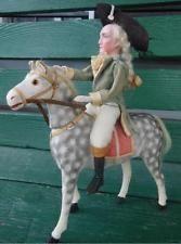 Дрессель c 1890 немецкая фарфоровая Джордж Вашингтон лошадь конфеты conatiner войлок кукла
